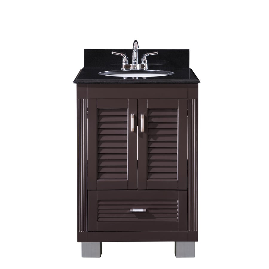 Venus Espresso Undermount Single Sink Bathroom Vanity with Granite Top (Common: 24-in