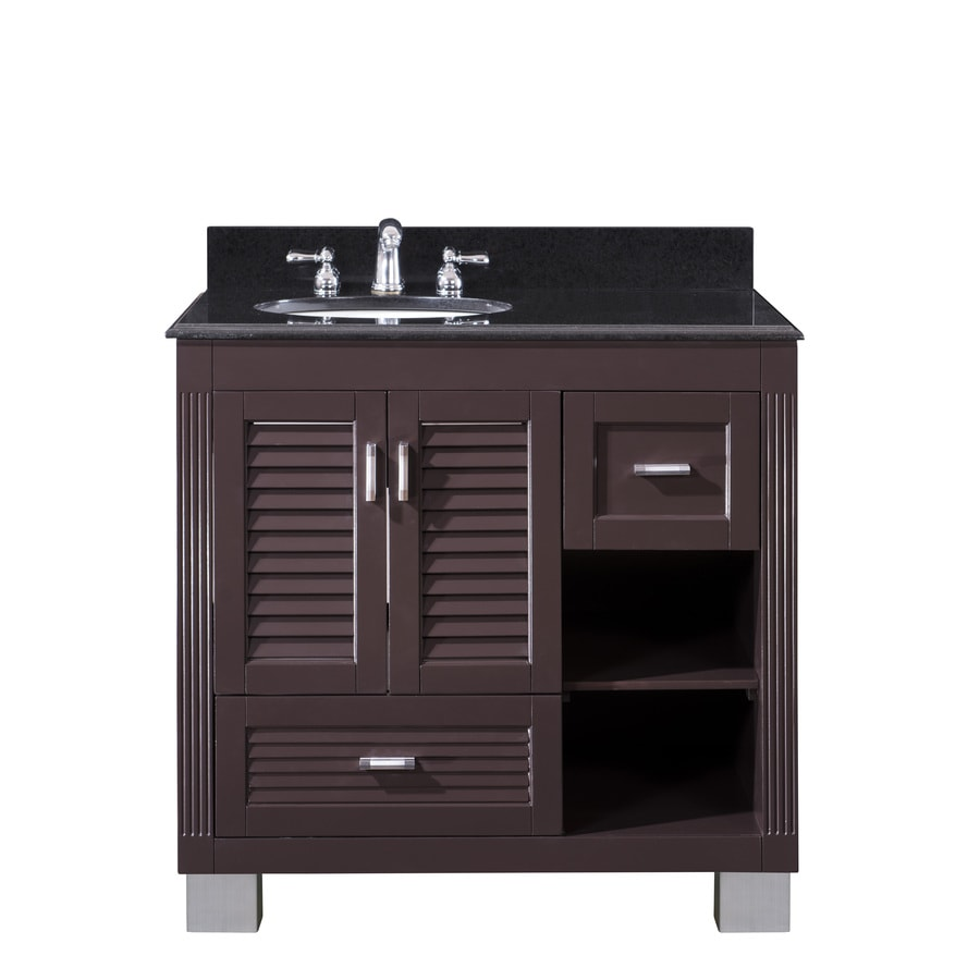 Venus Espresso (Common: 36-in x 21-in) Undermount Single Sink Oak Bathroom Vanity with Granite Top (Actual: 37-in X