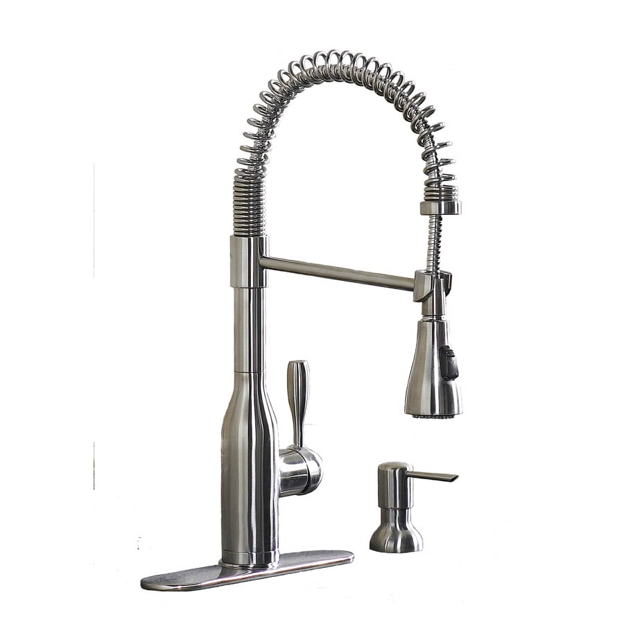 Shop AquaSource Stainless Steel Handle PullDown Kitchen Faucet At - Lowes kitchen faucets on sale