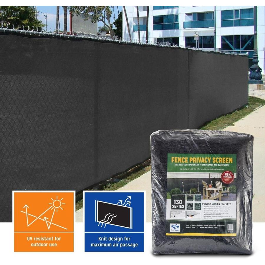 FenceScreen Black Privacy Fence Screen Jet Black Chain-Link Fence Privacy Screen (Fits Common Fence Height: 6-Ft; Actual: 50-ft x 5.667 Feet)