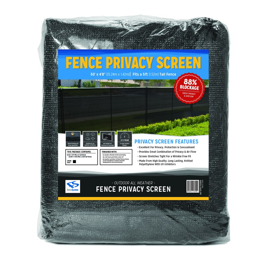 FenceScreen Black Privacy Fence Screen Jet Black Chain-Link Fence Privacy Screen (Fits Common Fence Height: 5-Ft; Actual: 50-ft x 4.667 Feet)