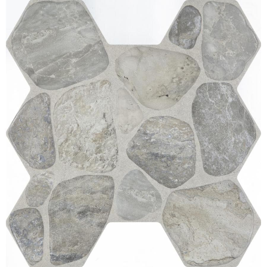 FLOORS 2000 Sunstone 7-Pack Grey Porcelain Floor and Wall Tile (Common: 17-in x 18-in; Actual: 17.75-in x 17-in)