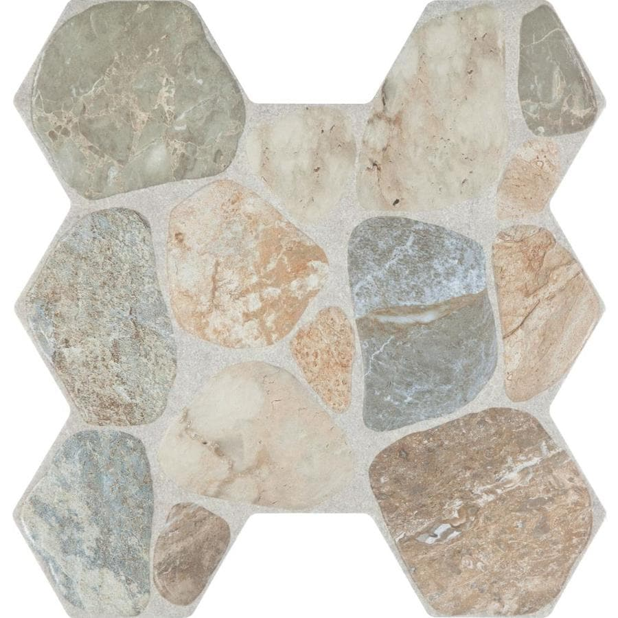 FLOORS 2000 Sunstone 7-Pack Multi Porcelain Floor and Wall Tile (Common: 17-in x 18-in; Actual: 17.75-in x 17-in)