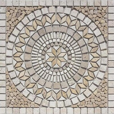 Medallions Multi Colored 36 In X Mosaic Travertine Cobblestone Floor Tile Common Actual 35 75