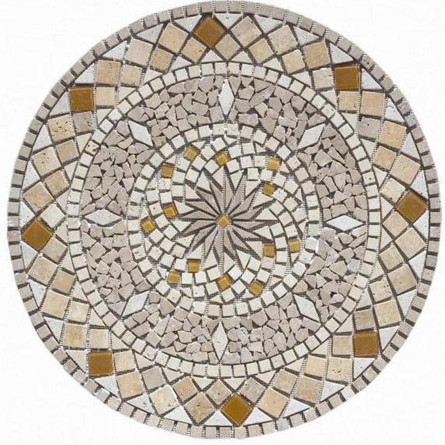 FLOORS 2000 Medallions Multi Colored Mosaic Travertine Floor Tile (Common: 36-in x 36-in; Actual: 36-in x 36-in)