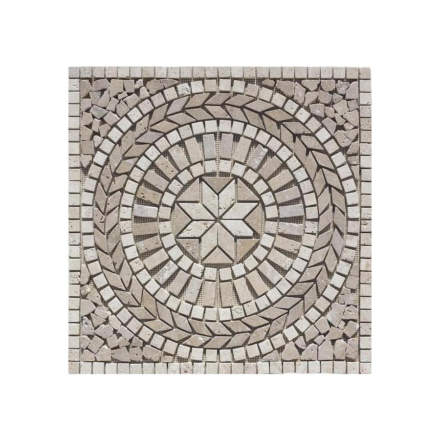 FLOORS 2000 Medallions Multi Colored Mosaic Travertine Floor Tile (Common: 24-in x 24-in; Actual: 24-in x 24-in)