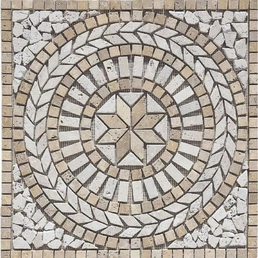 Floors 2000 Medallions Multi Colored Mosaic Travertine Floor Tile Common 24 In X Actual