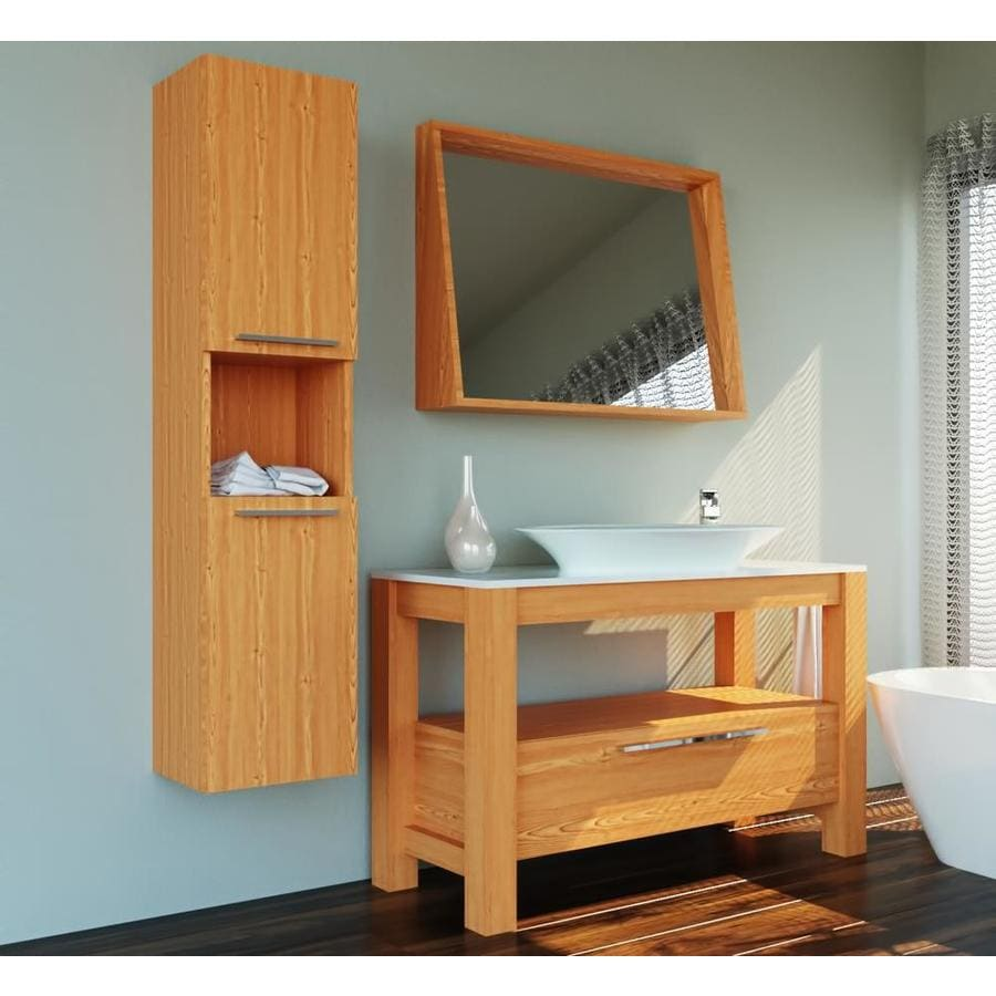 Casa Mare Modern 48 In Light Oak Drop In Single Sink Bathroom Vanity With White Acrylic Top Mirror Included In The Bathroom Vanities With Tops Department At Lowes Com