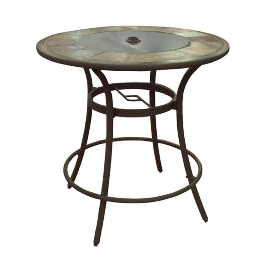 allen + roth Safford 40-in W x 40-in L 4-Seat LED Illuminated Round Brown Aluminum Patio Bar Table with a Glass and Stone Tabletop