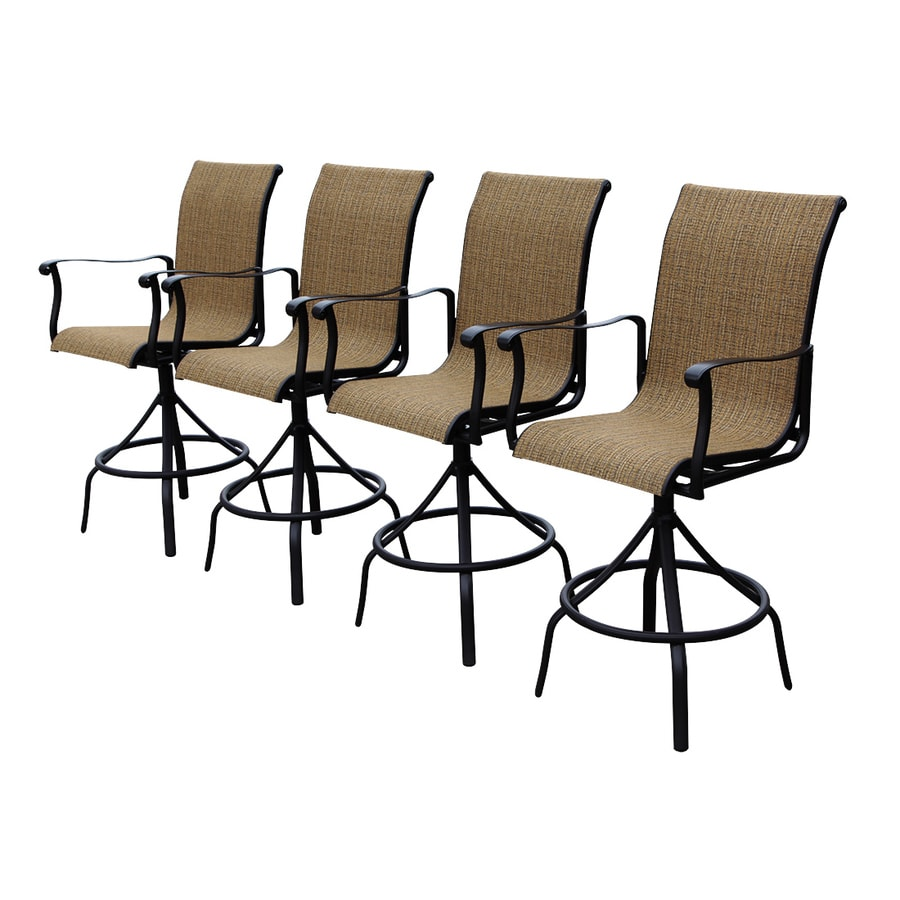 Allen Roth Safford Brown Aluminum Patio Barstool Chair
