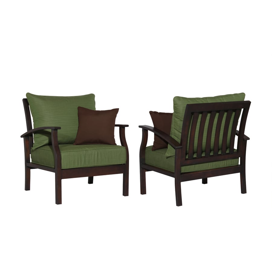 Allen Roth Set Of 2 Eastfield Aluminum Patio Chairs With Solid Green Cushions