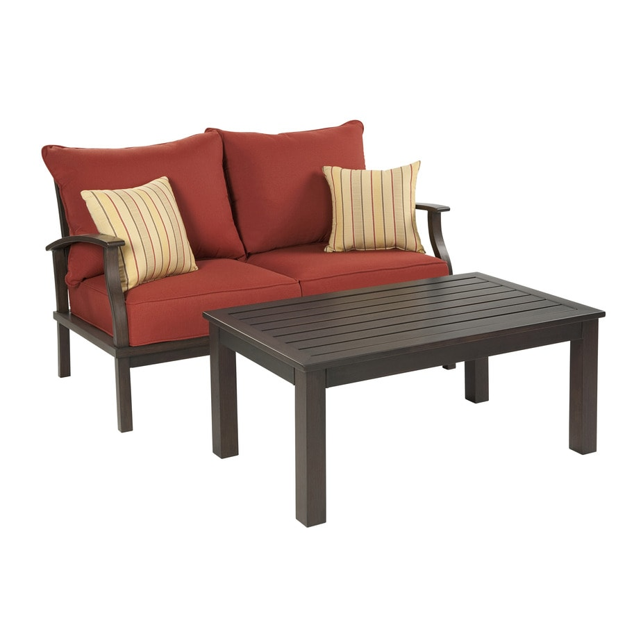 Shop Allen Roth Gatewood 2 Piece Aluminum Patio Conversation Set At