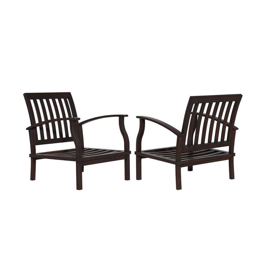 Shop allen roth gatewood 2 count brown aluminum patio for Outside porch chairs