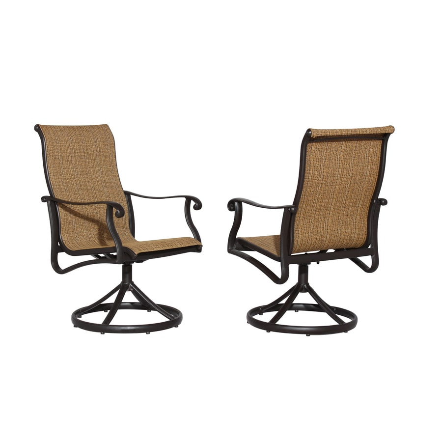 Allen Roth Safford 2 Count Brown Aluminum Patio Dining Chairs