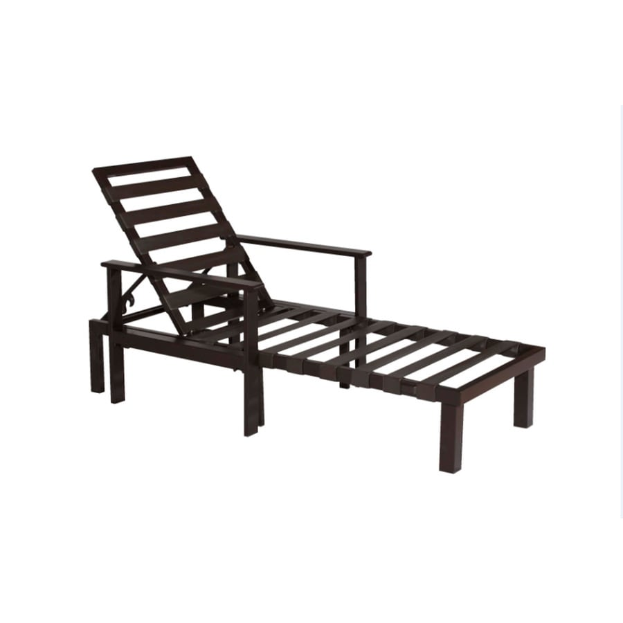 allen + roth Modular Slat Steel Patio Chaise Lounge