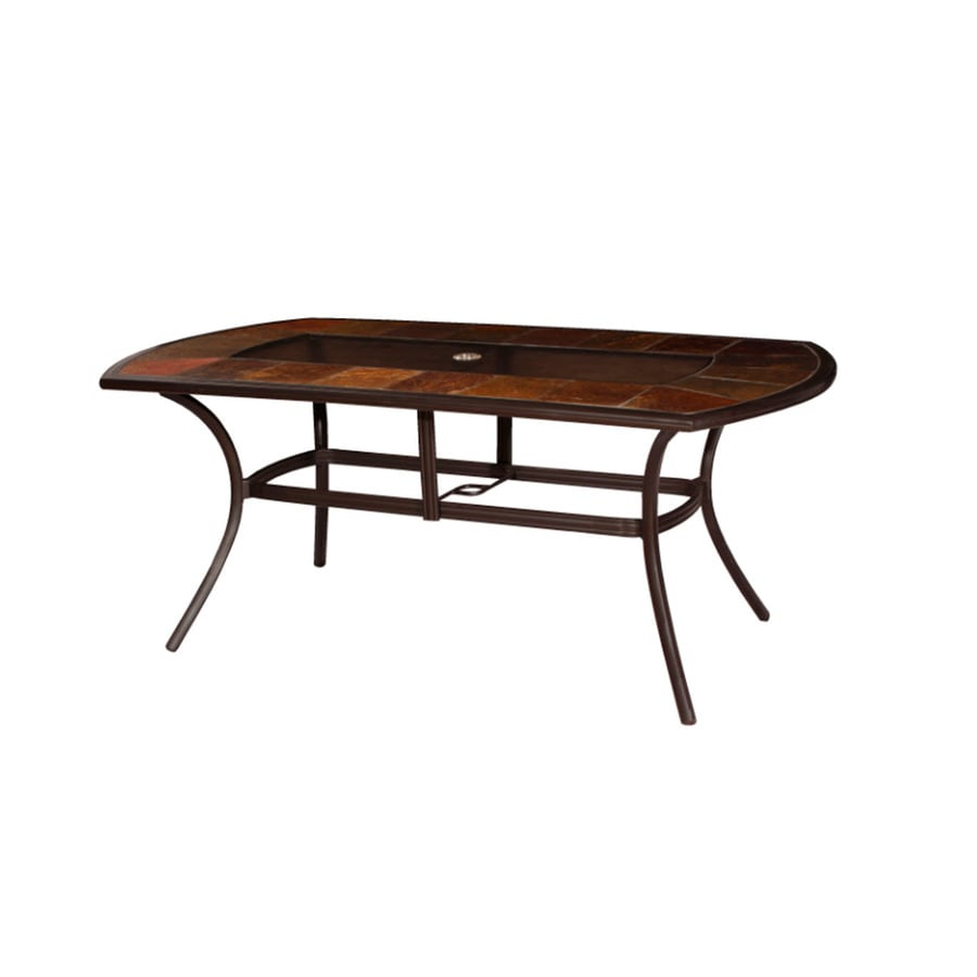 allen + roth Safford 39.75-in W x 71.75-in L 4-Seat Oval Brown Aluminum Patio Dining Table with a Glass and Stone Tabletop