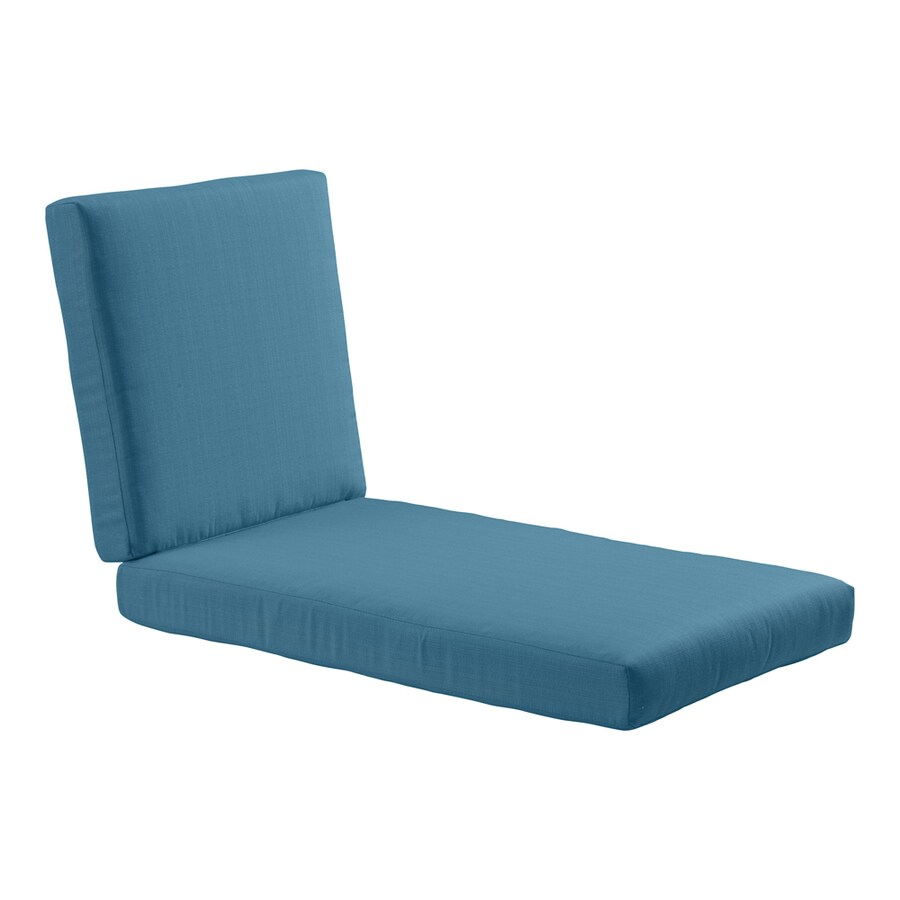 Shop allen roth sunbrella deep sea solid cushion for for Blue chaise lounge cushions