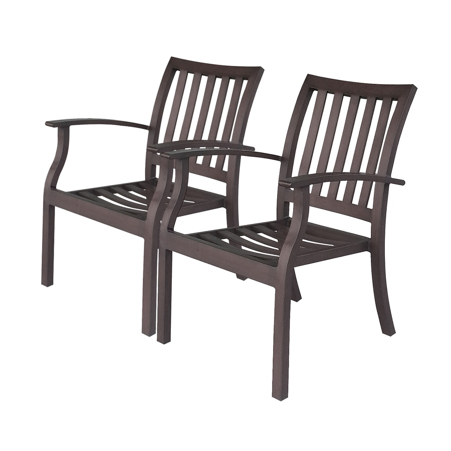 Allen + Roth Gatewood 2 Count Brown Aluminum Stackable Patio Dining Chairs