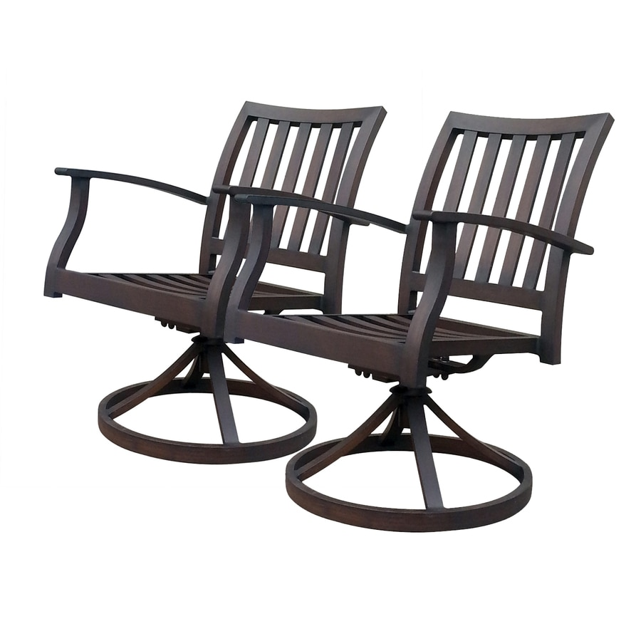 Shop allen roth gatewood 2 count brown aluminum patio for Outdoor swivel chairs