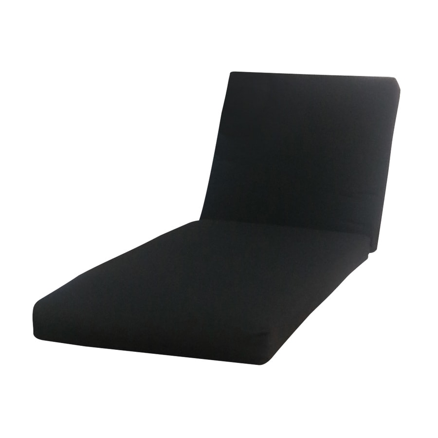allen + roth Sunbrella Canvas Black Patio Chaise Lounge Cushion