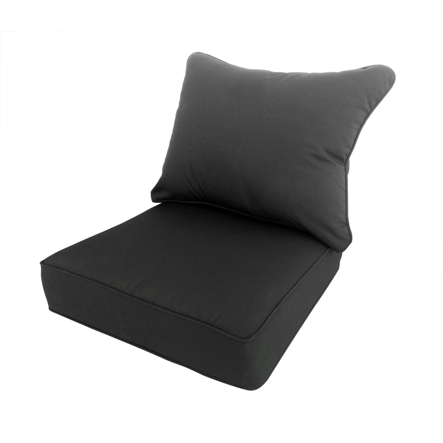 Allen Roth Sunbrella Canvas Black Solid Cushion For Deep Seat Chair
