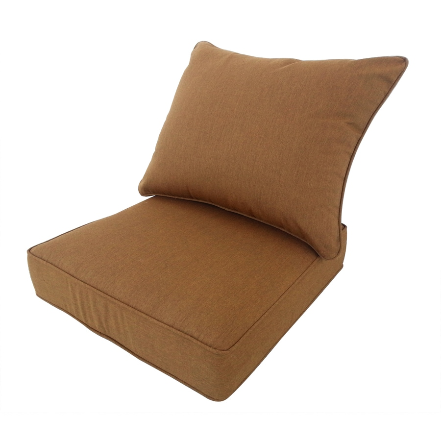 allen + roth Sunbrella Canvas Teak Brown Solid Cushion For Deep Seat Chair
