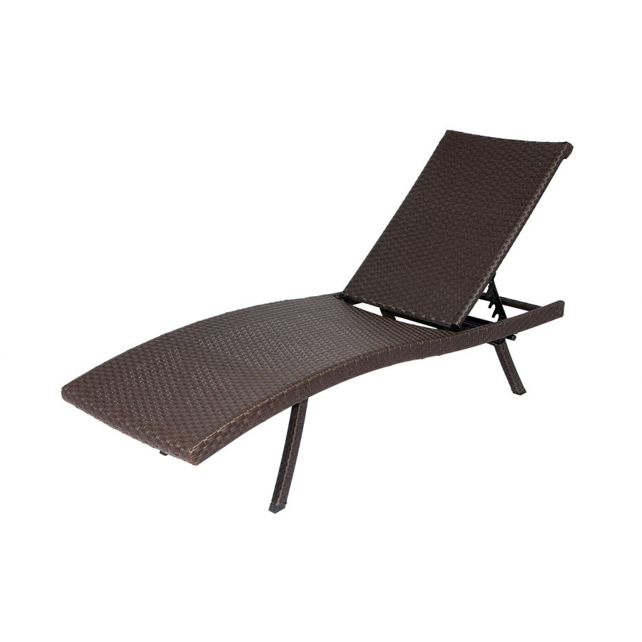 Shop allen roth brown wicker folding chaise lounge chair for Chaise and lounge