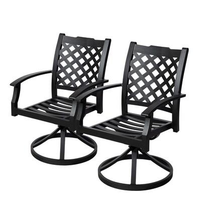 Carrinbridge 2 Count Black Aluminum Patio Dining Chairs