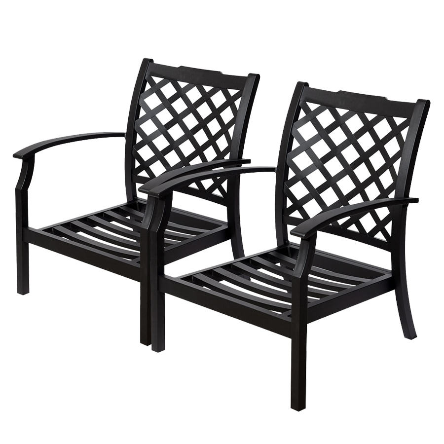 Allen + Roth Carrinbridge 2 Count Black Aluminum Patio Conversation Chairs