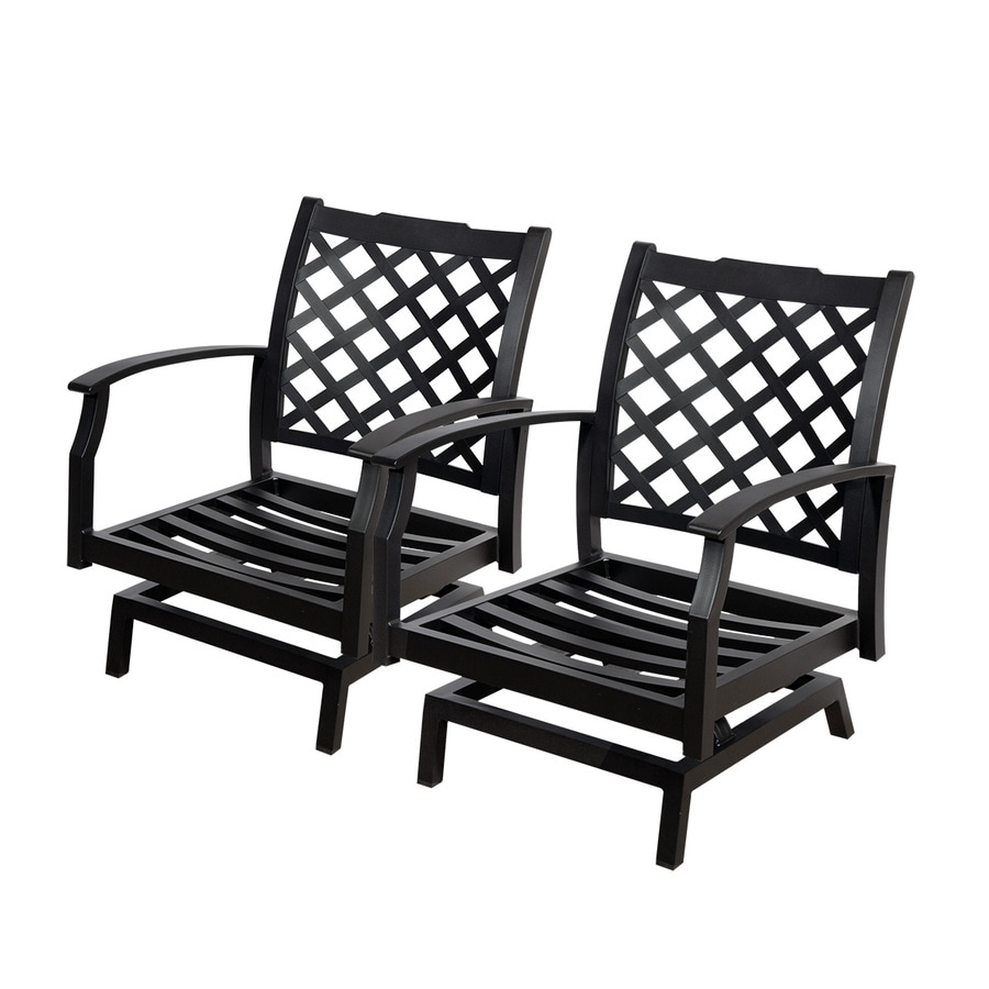 Charmant Allen + Roth Carrinbridge 2 Count Black Aluminum Patio Conversation Chairs
