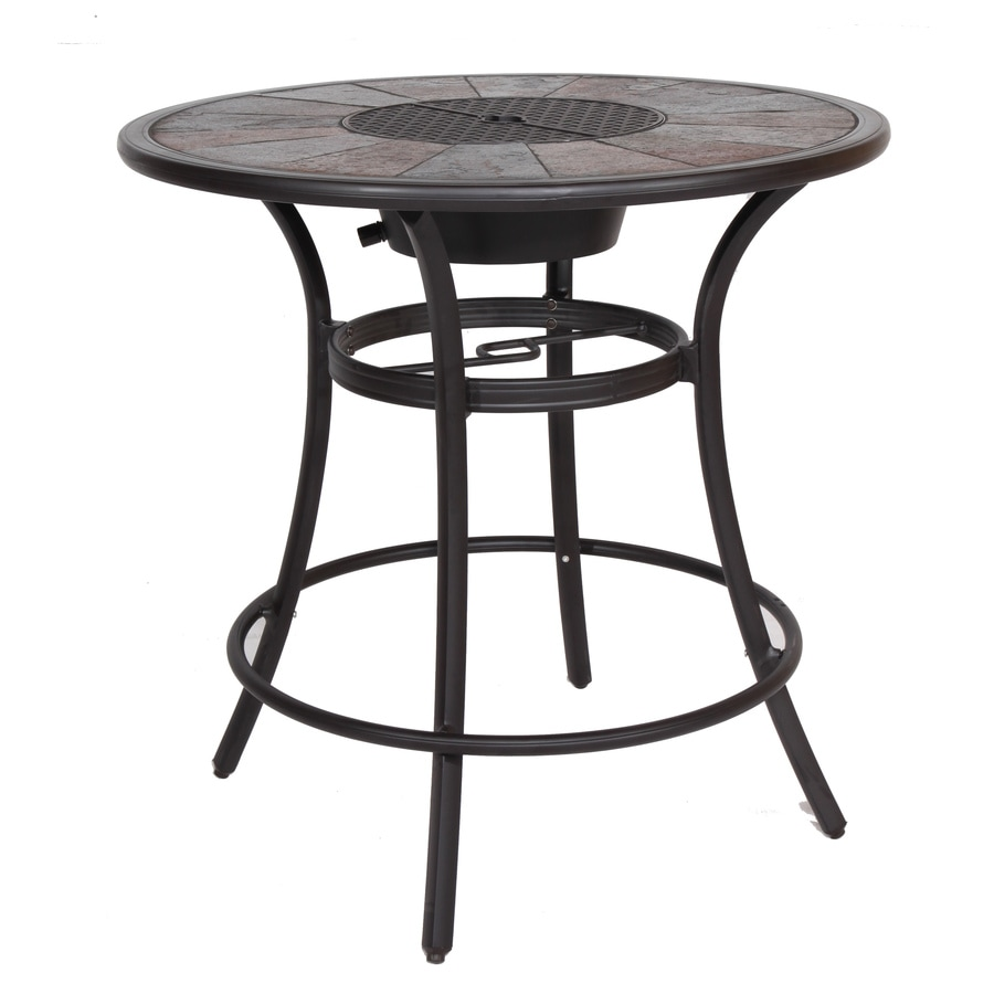 Shop allen roth safford 40 in w x 40 in l round aluminum for Patio table only for sale