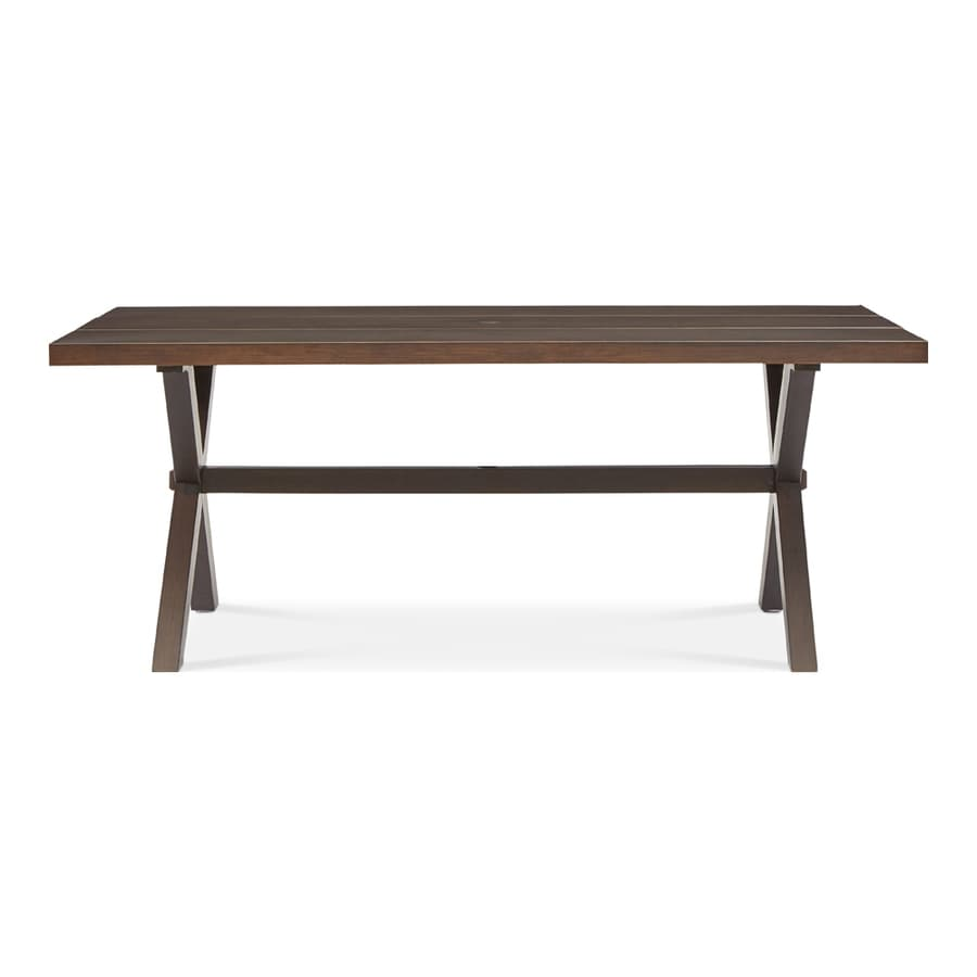 Shop patio tables at lowes allen roth atworth 42 in w x 76 in l rectangle aluminum dining geotapseo Image collections