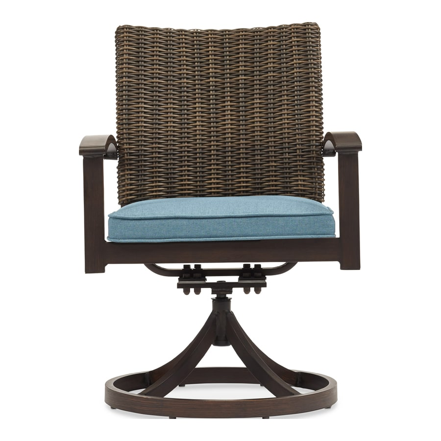 Allen + Roth Atworth 2 Count Brown Aluminum Patio Dining Chair With  Peacockblue Cushion