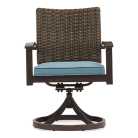 Allen + Roth Atworth 2 Count Brown Wicker Patio Dining Chairs With Peacock  Blue Cushions