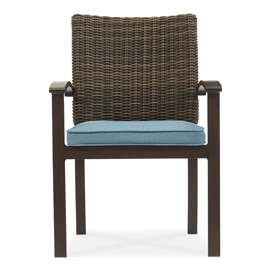 Outdoor wicker dining chairs - Allen Roth Atworth 4 Count Brown Wicker Patio Dining Chairs With Peacock Blue Cushions