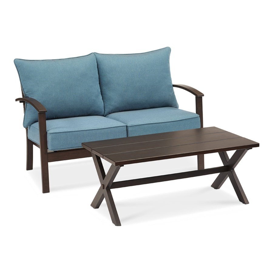 Allen + Roth Atworth 2 Piece Brown Wicker Patio Conversation Set With  Peacock Blue Cushions