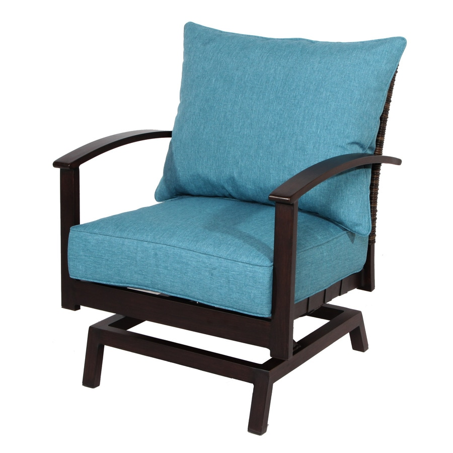 Exceptional Allen + Roth Atworth 2 Count Brown Wicker Patio Conversation Chairs With  Peacock Blue Cushions
