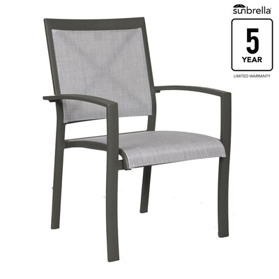 Fabulous Everchase Set Of 4 Stackable Metal Stationary Dining Chair S With Solid Gray Sunbrella Solid Seat Spiritservingveterans Wood Chair Design Ideas Spiritservingveteransorg