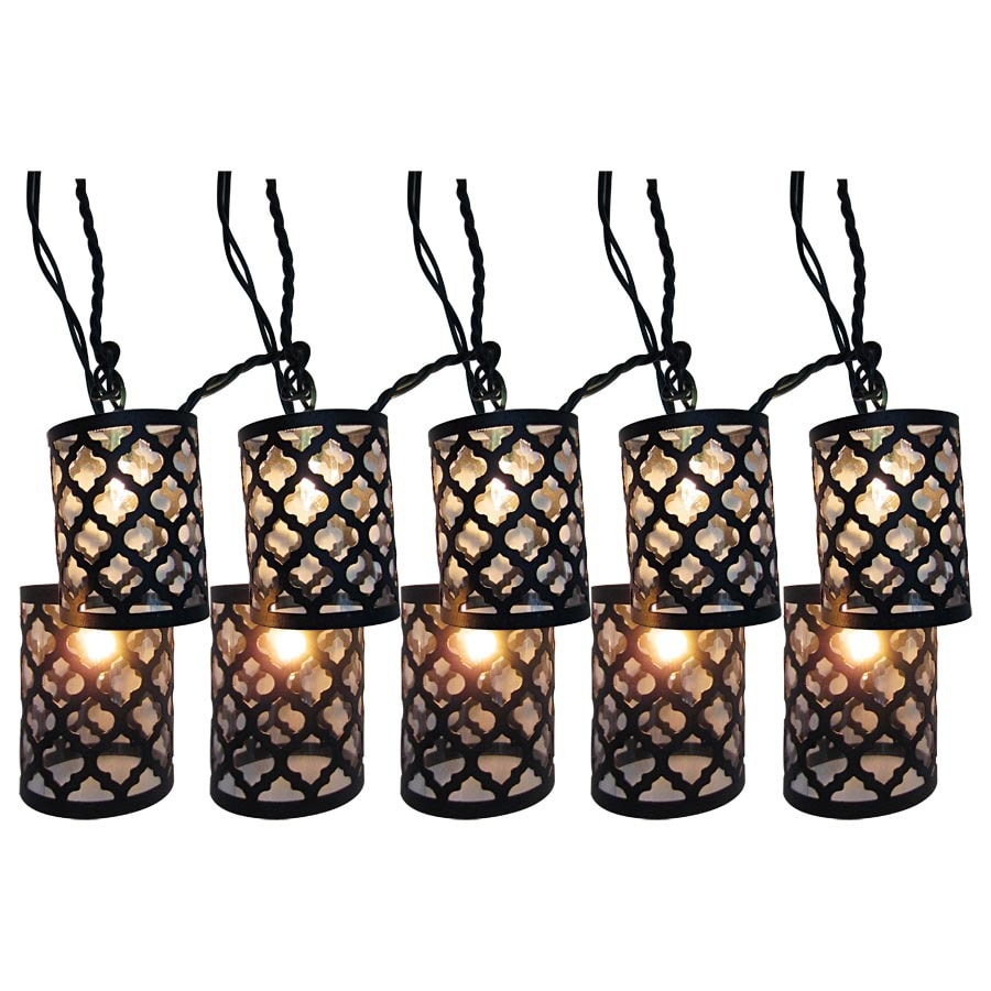 Style Selections 7 8 Ft Black Mini Bulb Scroll Patio String Lights