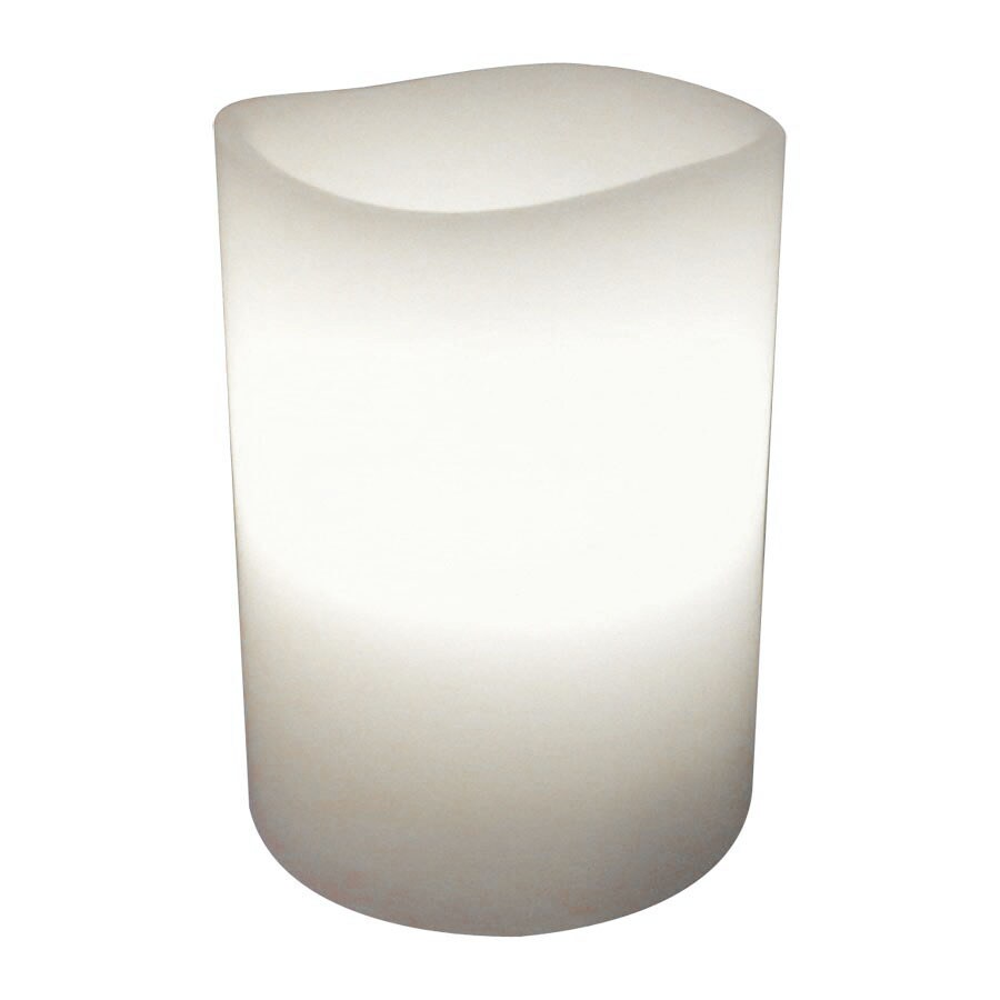 allen + roth 4-in Battery-Operated LED Yellow Electric Pillar Candle with Timer