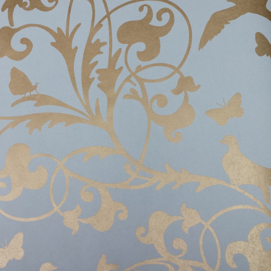 Brewster Wallcovering 33-sq ft Brass Non-Woven Birds  Wallpaper