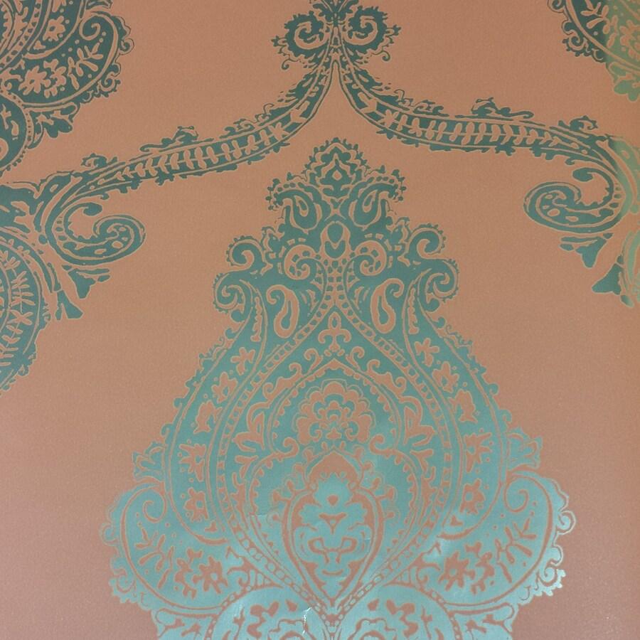 Brewster Wallcovering Orange Non-Woven Damask Wallpaper