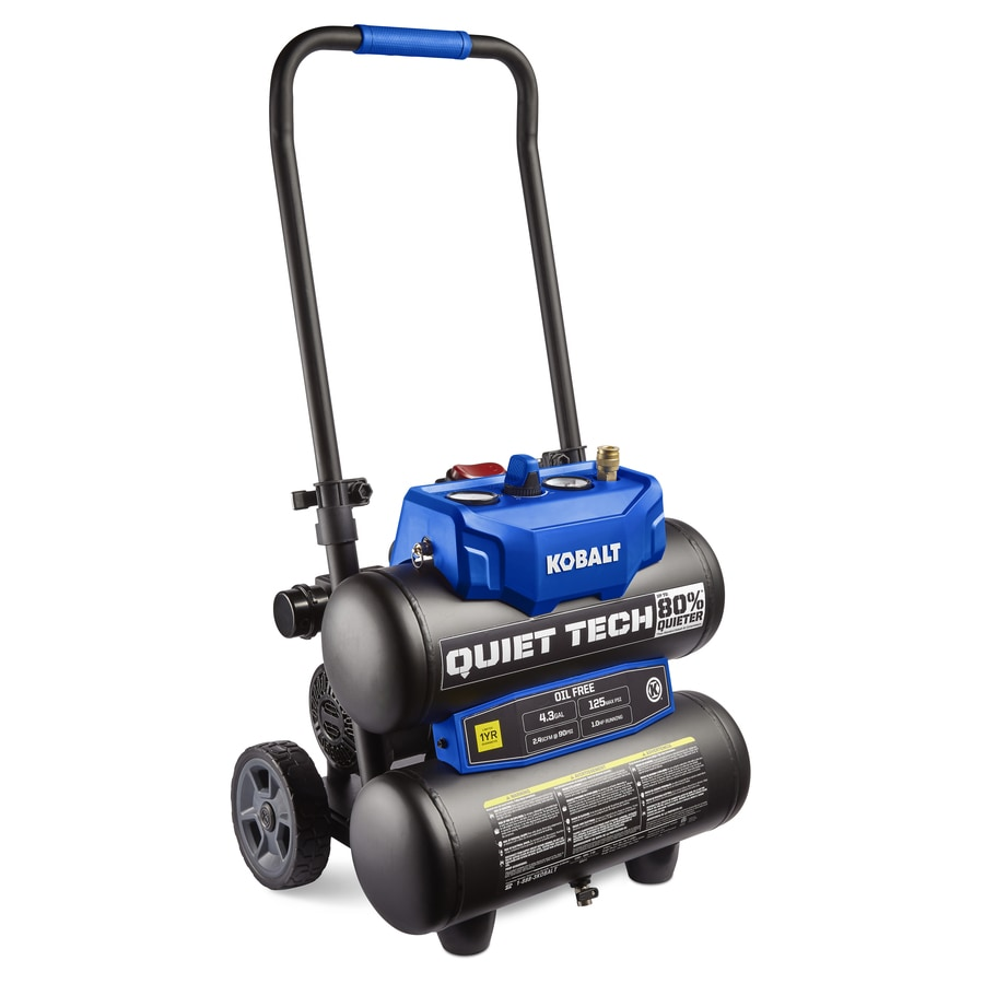 Kobalt Quiet Tech 4 3 Gallon Portable Electric Twin Stack Air Compressor
