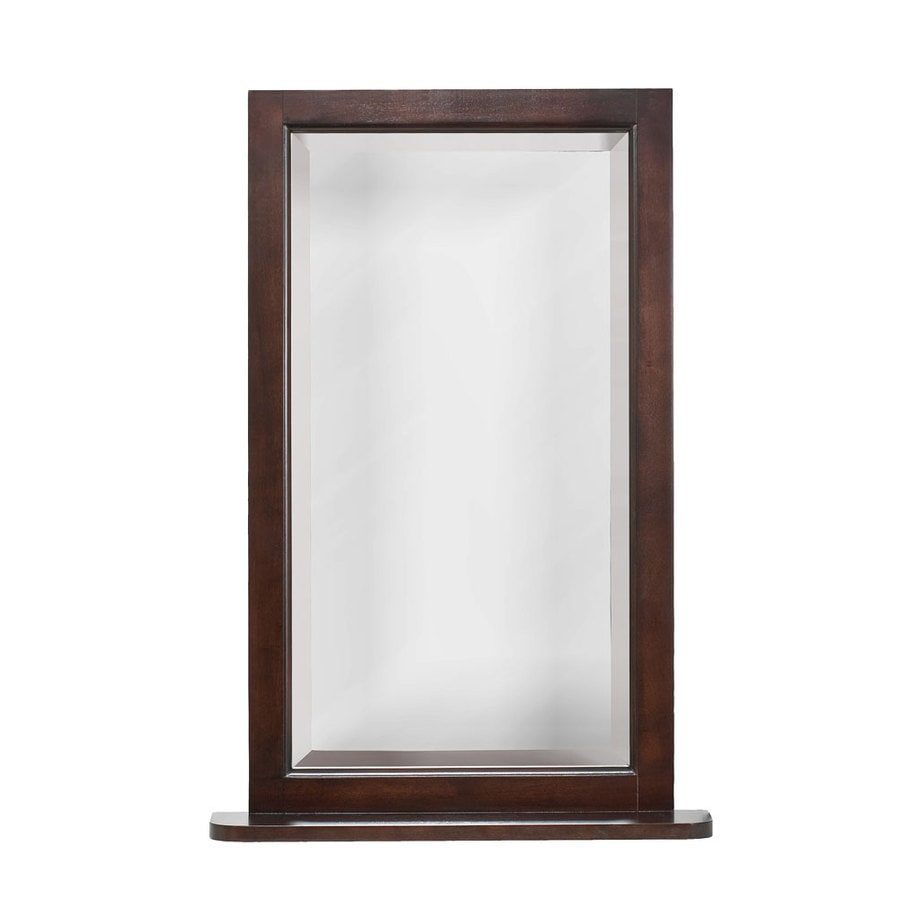 allen + roth 22-in W x 32-in H Espresso Rectangular Bathroom Mirror