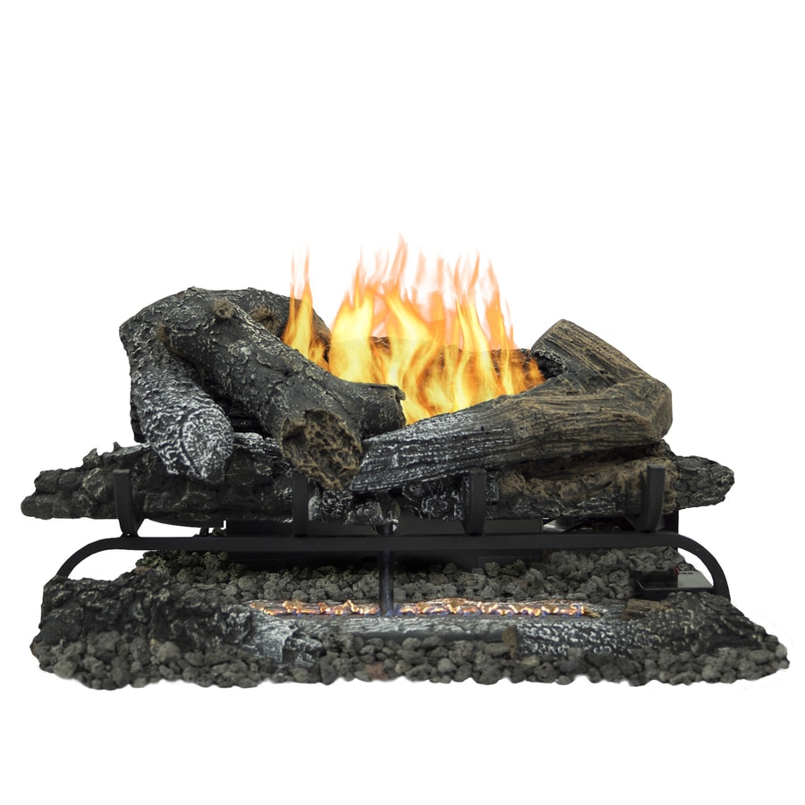 Shop pleasant hearth 24-in 33000-btu triple-burner vent-free gas fireplace logs with thermostat and remote at Lowes.com