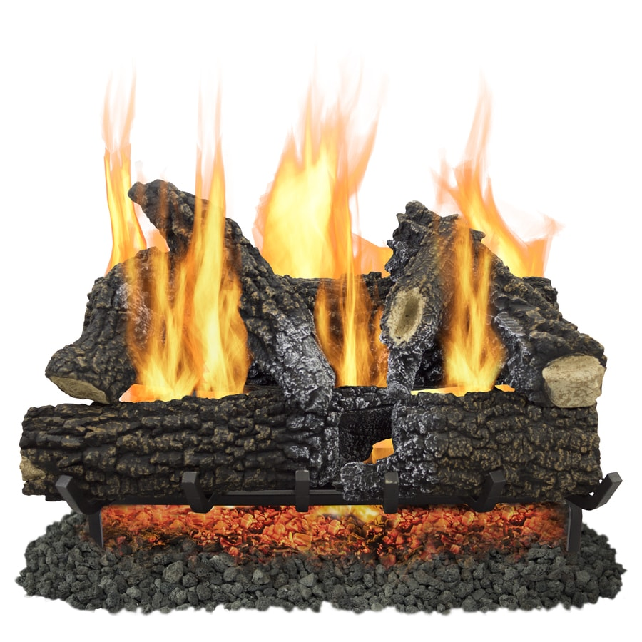 Shop pleasant hearth 30 in 65000 btu pan vented gas fireplace logs at