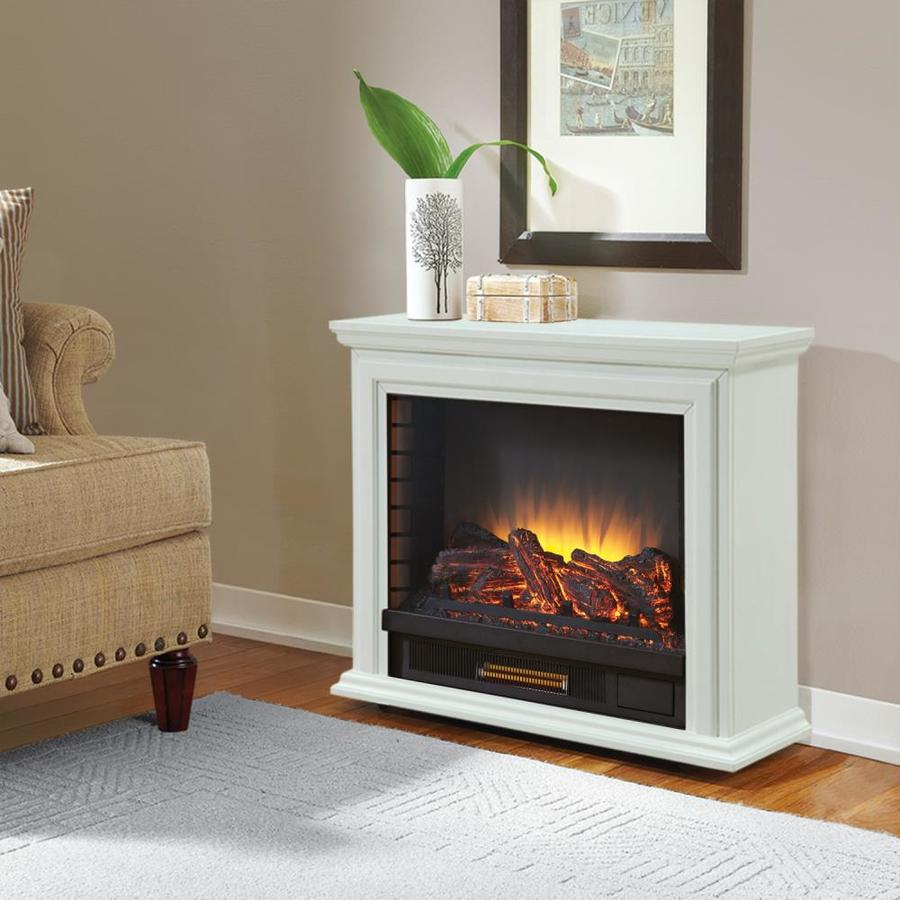 shop pleasant hearth 31 75 in w 5200 btu white wood and metal flat
