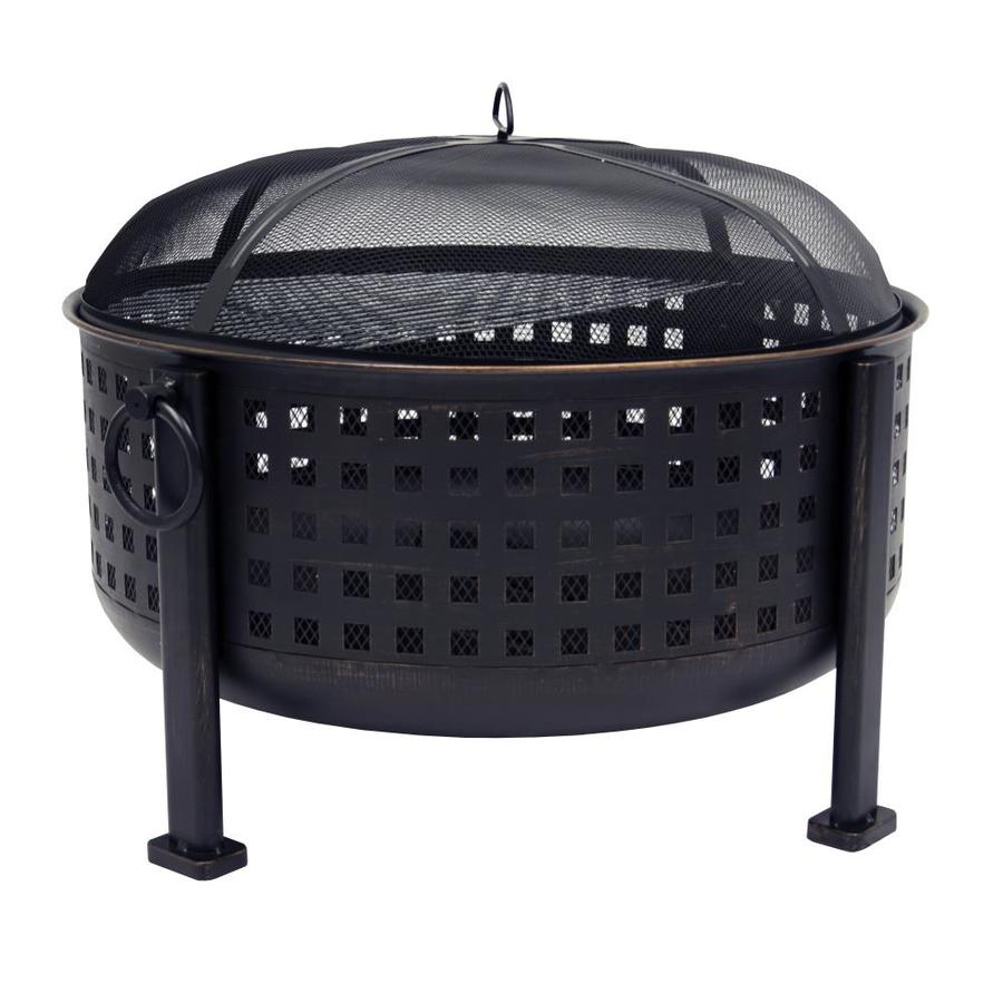 Pleasant Hearth 33.46-in W Rubbed Bronze Steel Wood-Burning Fire Pit
