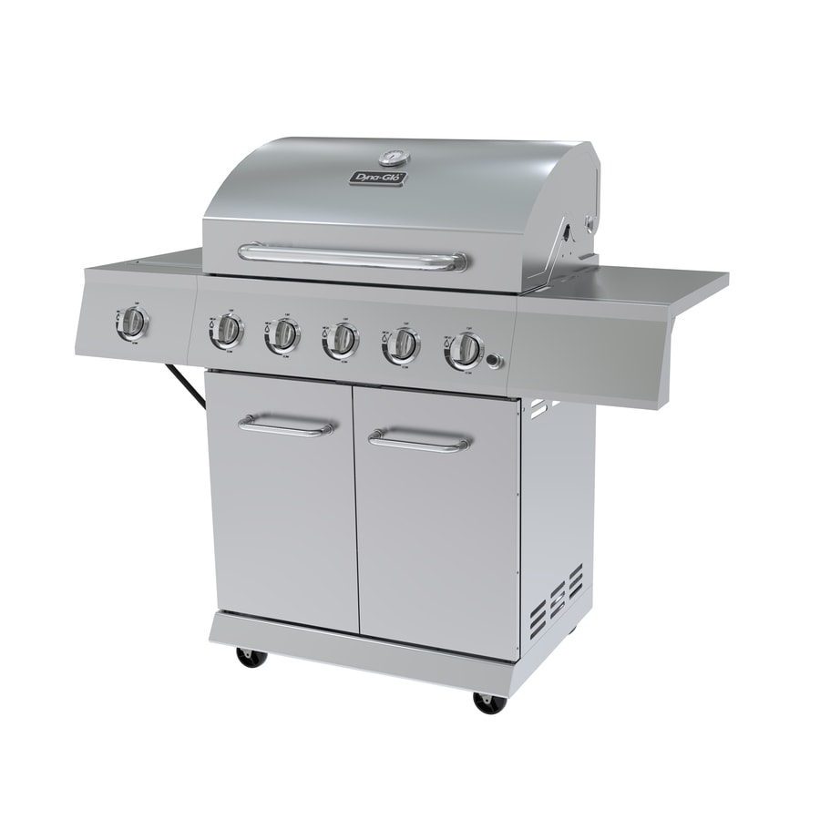 Dyna-Glo Stainless Steel 5-Burner (10,000-BTU) Liquid Propane Gas Grill with Side Burner