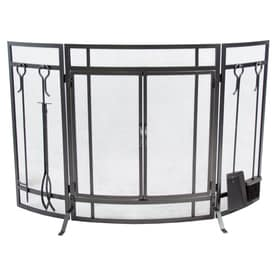 Pleasant Hearth 50 In Vintage Iron Steel 3 Panel Craftsman Twin Fireplace  Screen